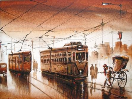 Kolkata V | Painting by artist Ananda Das | acrylic | Canvas
