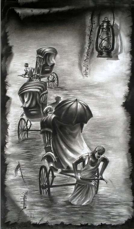 Cityscape Charcoal Art Painting title 'Light' by artist Ananda Das