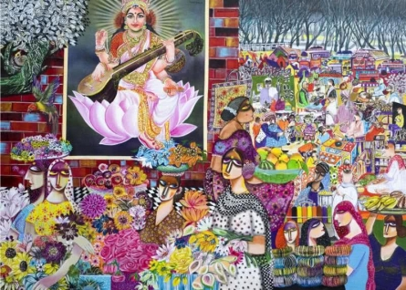 Market | Painting by artist Arun K Mishra | acrylic | Canvas
