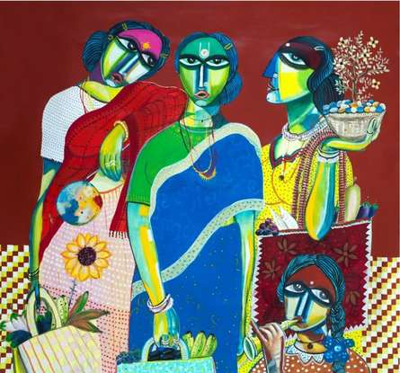 Arun K Mishra Paintings | Acrylic Painting title Market by artist Arun K Mishra | ArtZolo.com
