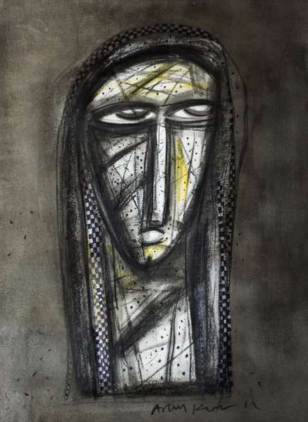 Figurative Charcoal Art Painting title 'Aryan Face' by artist Arun K Mishra
