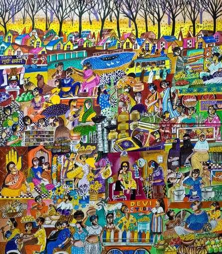 Women MArket Bazar   Painting by artist Arun K Mishra   acrylic   Canvas