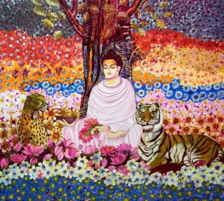 Peaceful Meditation | Painting by artist Arun K Mishra | acrylic | Canvas