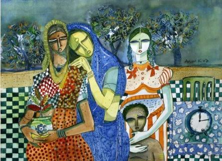 Arun K Mishra | Watercolor Painting title Family Potratit on Canvas | Artist Arun K Mishra Gallery | ArtZolo.com