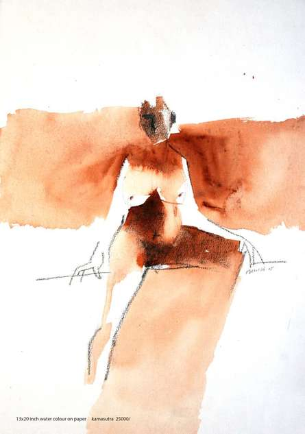 Arun K Mishra | Watercolor Painting title Kamasutra 1 on Paper | Artist Arun K Mishra Gallery | ArtZolo.com