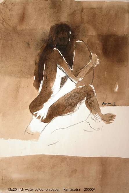 Erotic Watercolor Art Painting title 'Kamasutra Nude Couple' by artist Arun K Mishra
