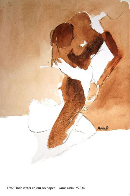 Erotic Watercolor Art Painting title 'Kamasutra Nude Couple 3' by artist Arun K Mishra