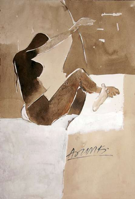 Erotic Watercolor Art Painting title Kamasutra Nude Pose by artist Arun K Mishra
