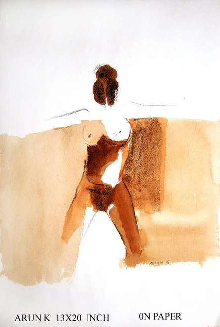 Erotic Watercolor Art Painting title 'Kamasutra Nude Women' by artist Arun K Mishra