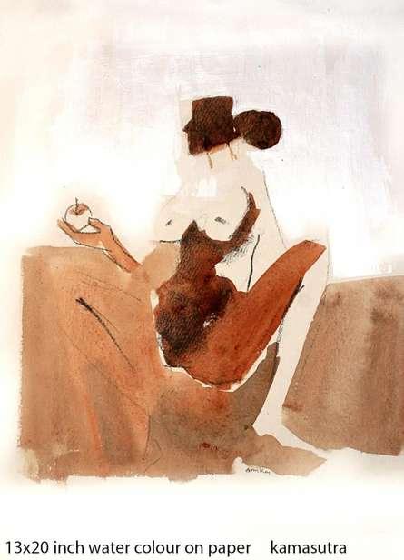 Kamasutranude Couple 4 | Painting by artist Arun K Mishra | watercolor | Paper