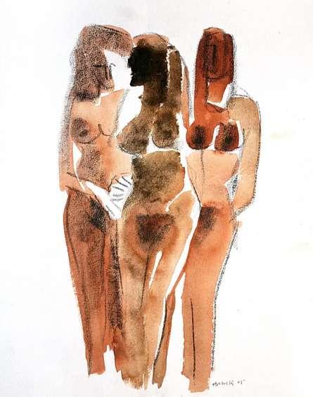 Erotic Watercolor Art Painting title Three Nude Women 13 20 by artist Arun K Mishra