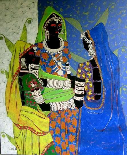 Anuradha Thakur Paintings | Figurative Painting - Rhythm 32 by artist Anuradha Thakur | ArtZolo.com