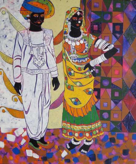 Figurative Acrylic Art Painting title 'Rhythm 34' by artist Anuradha Thakur