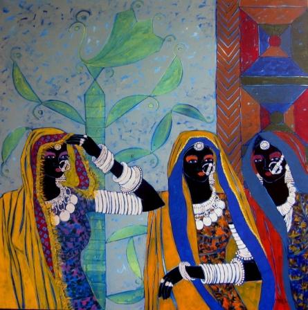 Figurative Acrylic Art Painting title 'Rhythm 37' by artist Anuradha Thakur