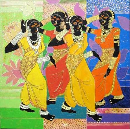 Figurative Acrylic Art Painting title 'Rhythm 40' by artist Anuradha Thakur