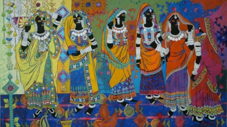 Anuradha Thakur Paintings | Figurative Painting - Rhythm 41 by artist Anuradha Thakur | ArtZolo.com