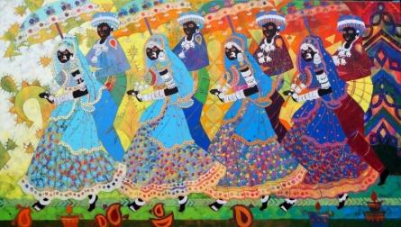 Figurative Acrylic Art Painting title Rhythm 43 by artist Anuradha Thakur