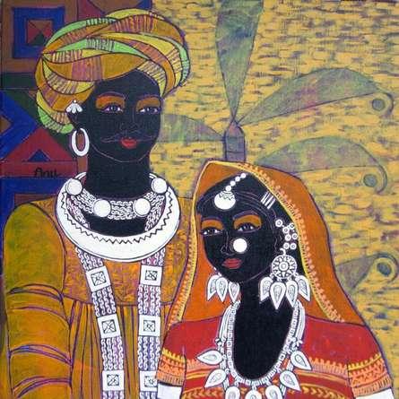 Figurative Acrylic Art Painting title Festive Rhythm 59 by artist Anuradha Thakur