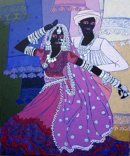 Figurative Acrylic Art Painting title 'Festive Rhythm 48' by artist Anuradha Thakur