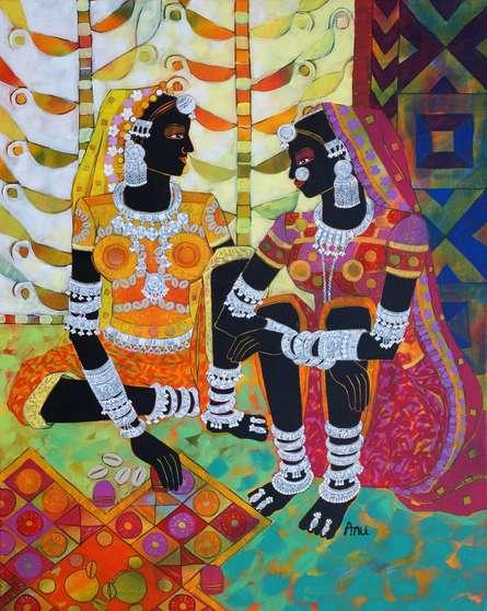 Anuradha Thakur | Acrylic Painting title Ethnic Serendipity 150 on Canvas | Artist Anuradha Thakur Gallery | ArtZolo.com