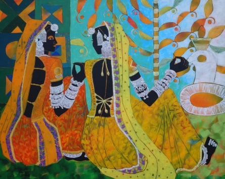 Figurative Acrylic Art Painting title 'Ethnic Serendipity 153' by artist Anuradha Thakur