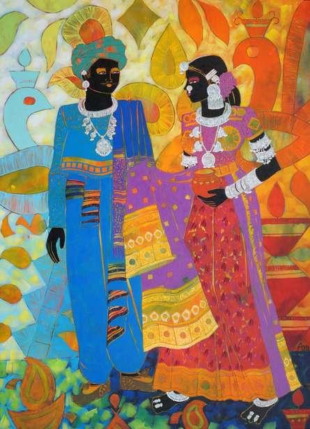 Figurative Acrylic Art Painting title Ethnic Serendipity 157 by artist Anuradha Thakur