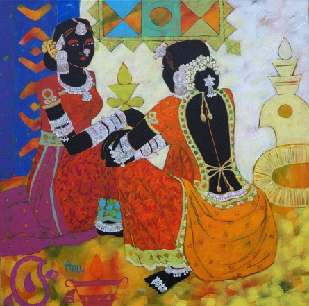 Figurative Acrylic Art Painting title 'Ethnic Serendipity 160' by artist Anuradha Thakur