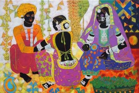 Figurative Acrylic Art Painting title 'Ethnic Serendipity 171' by artist Anuradha Thakur