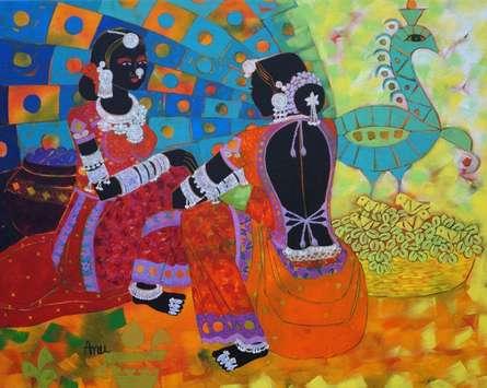 Figurative Acrylic Art Painting title 'Rhythm 67' by artist Anuradha Thakur