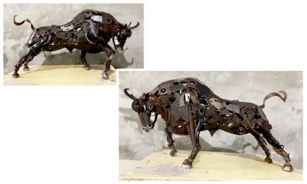 Metal Scrap Sculpture titled 'Bull 3' by artist Vinit Barot