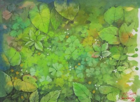 Landscape Postercolor Art Painting title A green world by artist Sandeep Maharana