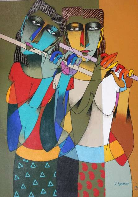 Playing Flute 2 | Painting by artist Dayanand Karmakar | oil | Canvas