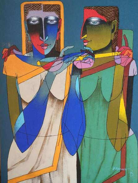 Playing Violin | Painting by artist Dayanand Karmakar | oil | Canvas