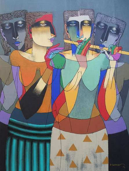 Dayanand Karmakar | Oil Painting title Playing Flute 3 on Canvas | Artist Dayanand Karmakar Gallery | ArtZolo.com