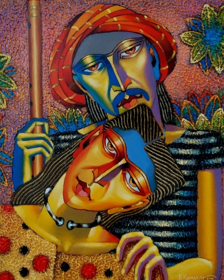 Figurative Acrylic-oil Art Painting title Couple by artist Dayanand Kamakar