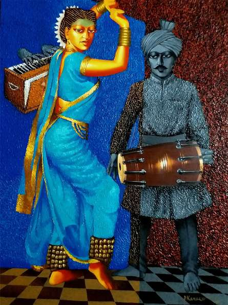 Lavani Dance | Painting by artist Dayanand Kamakar | acrylic-oil | Canvas