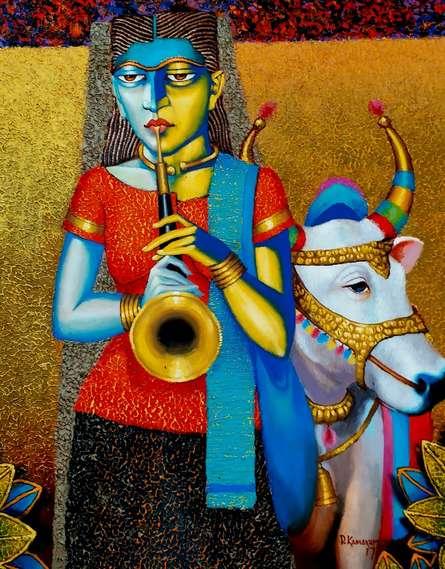 Figurative Acrylic-oil Art Painting title Street Beggar by artist Dayanand Kamakar