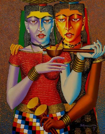 Violin Sellers | Painting by artist Dayanand Kamakar | acrylic-oil | Canvas