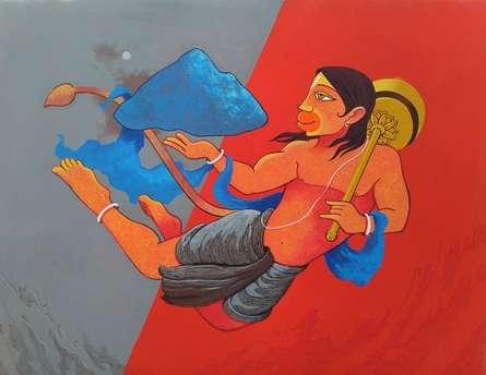 Religious Acrylic Art Painting title 'Dronagiri 2' by artist Prakash Pore