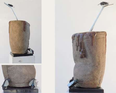 Stone, Metal Sculpture titled 'Cofffe With' by artist Nishchay Thakur