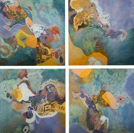 Abstract Mixed-media Art Painting title 'Untitled 3' by artist Vanchha Dixit