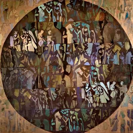 Religious Acrylic Art Painting title Radha Krishna by artist Zalak Bheda