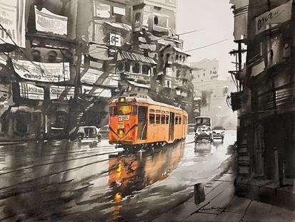 Cityscape Acrylic Art Painting title Tram in Calcutta Street by artist Arpan Bhowmik