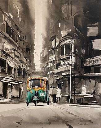 Cityscape Acrylic Art Painting title 'Market view Calcutta' by artist Arpan Bhowmik