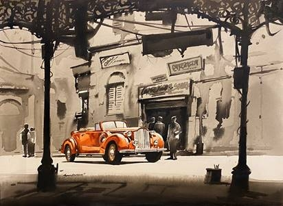 Cityscape Acrylic Art Painting title Vintage Car in Calcutta by artist Arpan Bhowmik