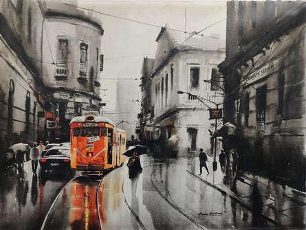 Cityscape Acrylic Art Painting title Tram In Calcutta Street 1 by artist Arpan Bhowmik