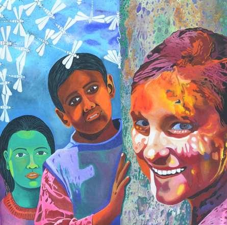 Fantasy Acrylic Art Painting title Children Of The Heaven by artist Gayatri Artist