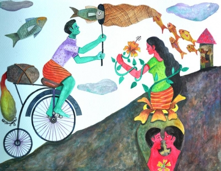 Figurative Watercolor Art Painting title History 6 by artist Gayatri Artist