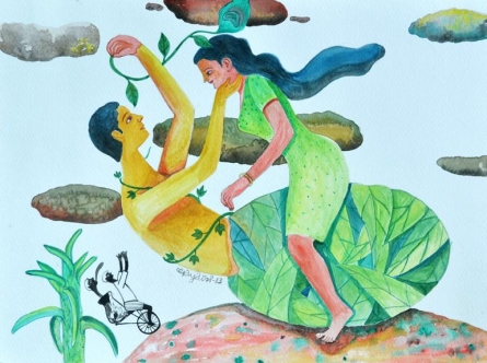 Figurative Watercolor Art Painting title 'History 8' by artist Gayatri Artist