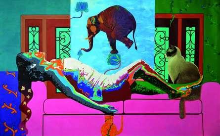 Gayatri Artist | Acrylic Painting title History Of Dreams And Reality 2 on Canvas | Artist Gayatri Artist Gallery | ArtZolo.com